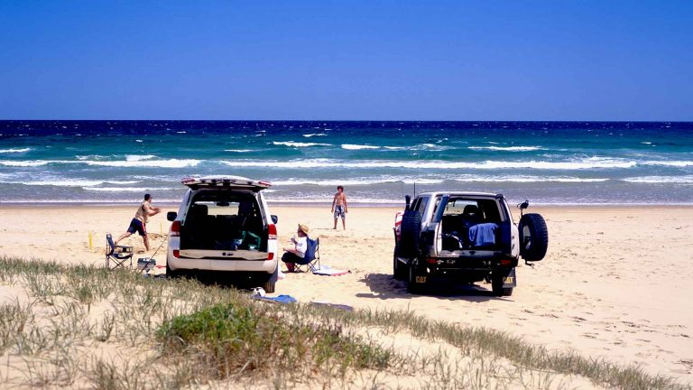 Image of 2 4wd's on Stockton beach NSW Australia