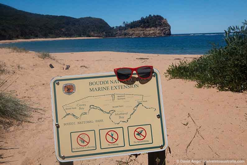 Image of map of Bouddi National Park map with a pair of sunglasses left on top