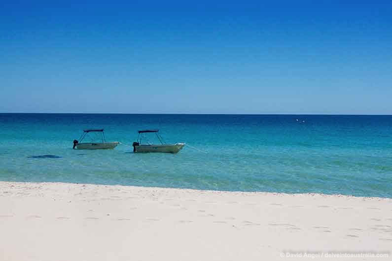 Image of boats moored off Eagle Bay beach near Dunsborough, Western Australia