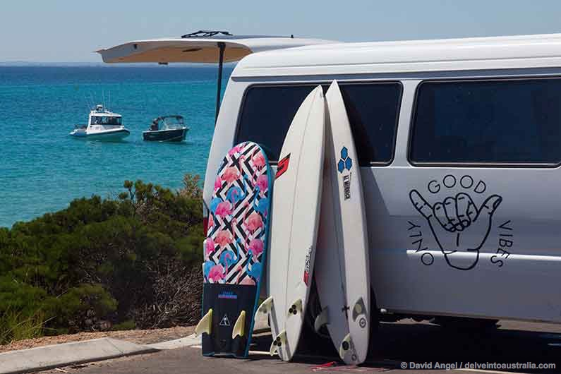 Image of surfboards resting against camper van, Western Australia