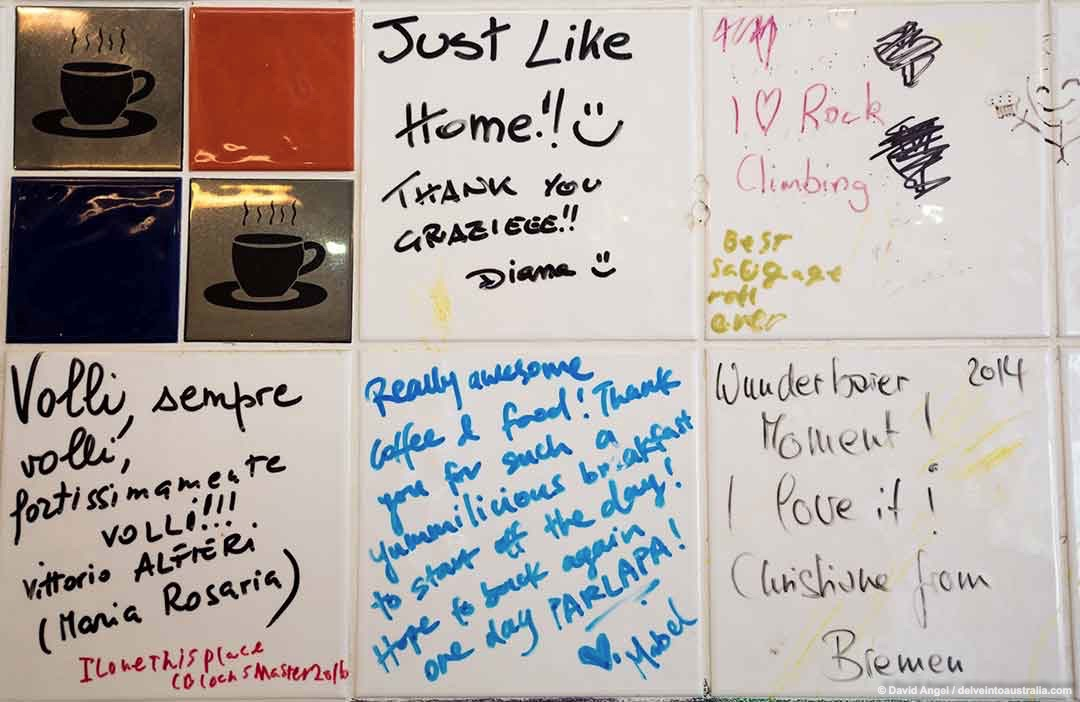 Image of customers' messages written on wall tiles in Parlapa restaurant Fremantle