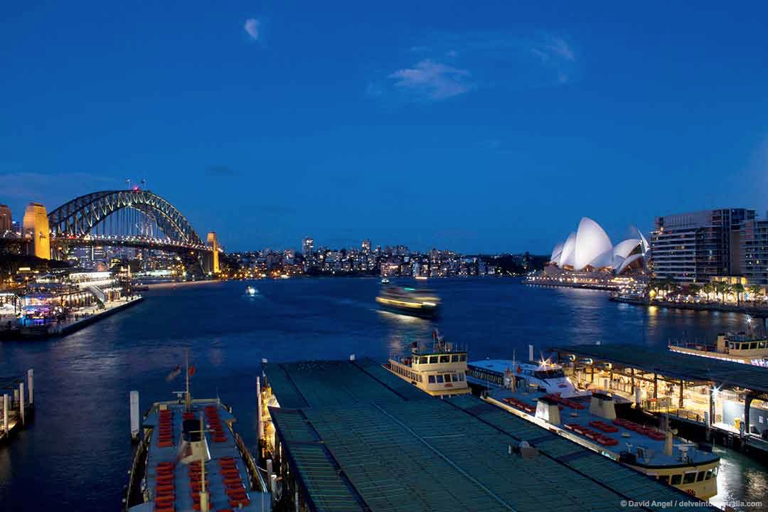 Image of Circular Quay, Sydney Opera House and Harbour Bridge at night