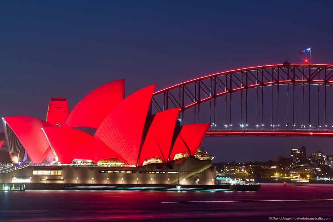 Image of Sydney Opera House lit up red for Chinese New Year