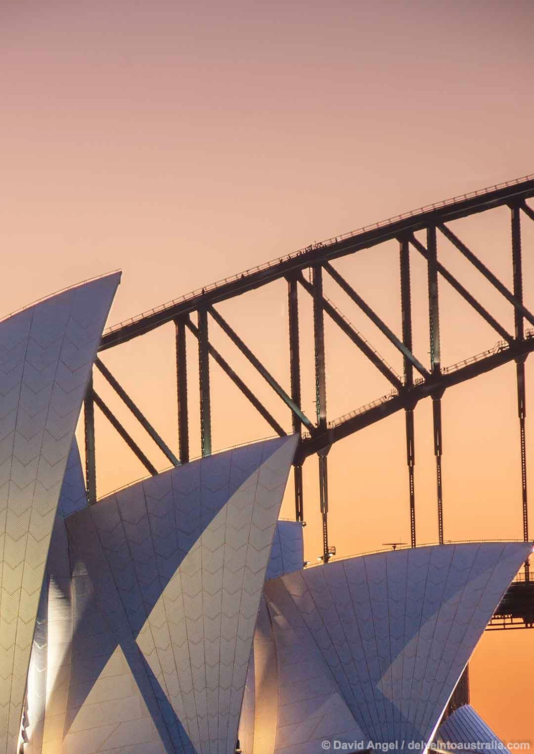 Image of Sydney Opera House and Harbour Bridge at dusk