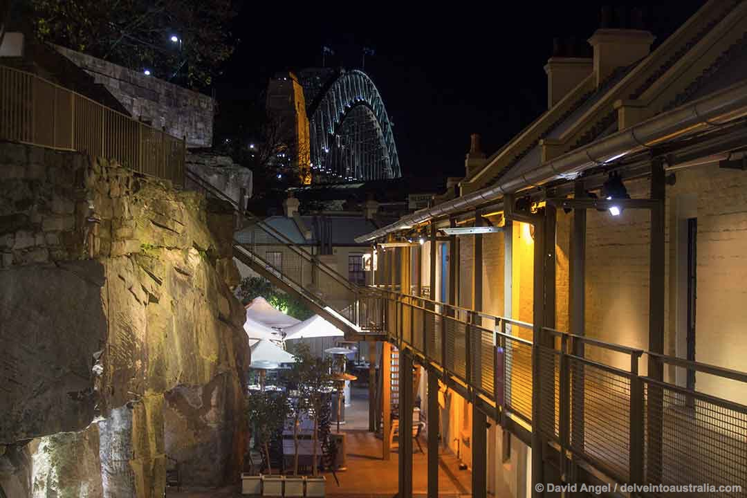 Image of the historic Rocks district at night, Sydney