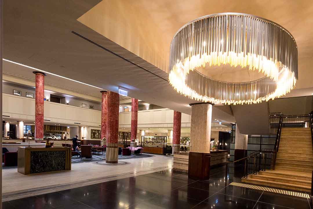 Image of Art Deco chandelier in the Primus Hotel Sydney