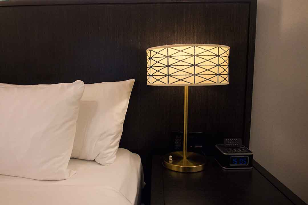Image of Art Deco-style lamp on bedside table