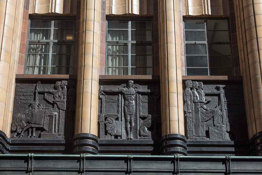 Image of Art Deco bas-reliefs above the main doorway at the Primus Hotel Sydney