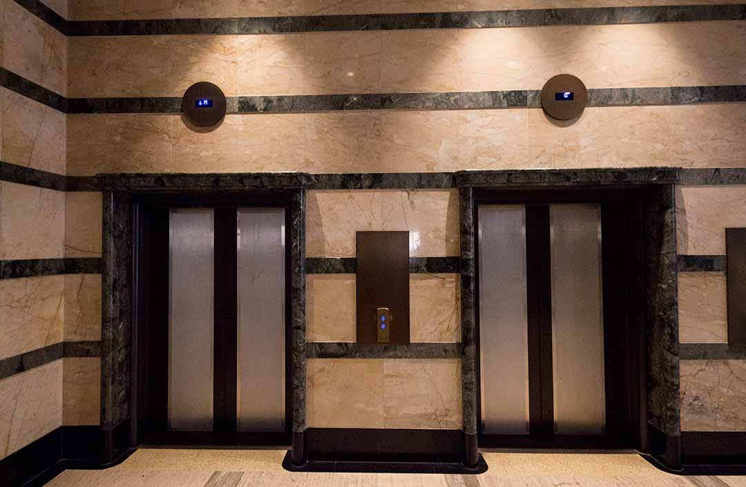 Image of the marble lift lobby at the Primus Hotel